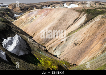 Hikers walking a section of the famous Laugavegur hiking trail, near Landmannalaugar, Iceland - Stock Photo