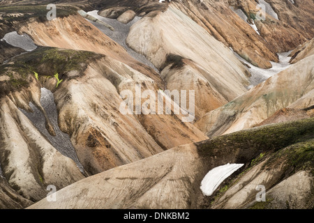 An eroded rhyolite hillside besides the Laugavegur hiking trail in the vicinity of Landmannalaugar, Iceland. - Stock Photo
