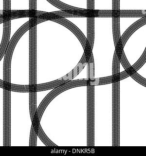 Seamless wallpaper winter tire tracks pattern illustration vector background - Stock Photo