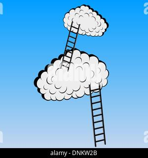 Clouds with stairs, vector illustration - Stockfoto