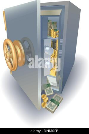 Open Safe With Money Spilling Out Cut Out On White
