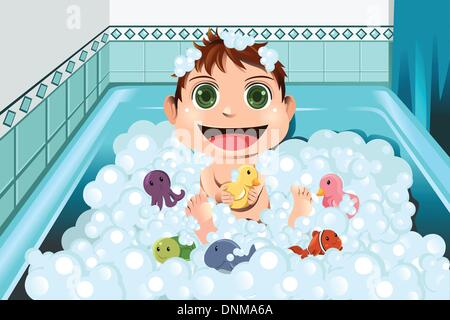 A vector illustration of a baby taking a bubble bath in the bathroom - Stock Photo