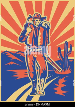retro style illustration of a Cowboy carrying backpack and rifle walking with desert mountains and cactus in background - Stockfoto