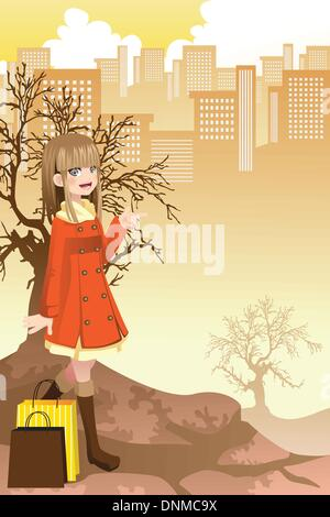A vector illustration of a beautiful girl shopping in the city - Stock Photo