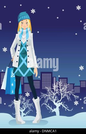 A vector illustration of a beautiful girl shopping in the city during winter season - Stock Photo