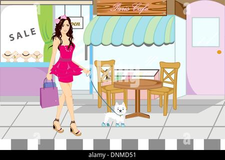 A vector illustration of a beautiful girl going shopping with her dog - Stock Photo