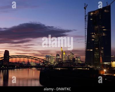 frankfurt skyline with ezb building stock photo royalty free image 109482918 alamy. Black Bedroom Furniture Sets. Home Design Ideas