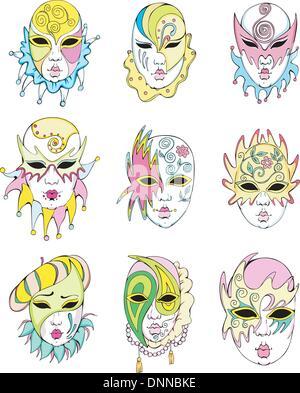 Women in Venetian carnival masks. Set of vector illustrations - Stock Photo
