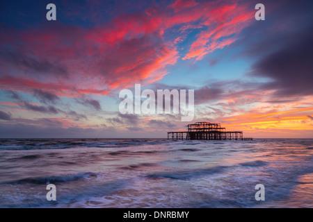 Brighton West Pier at Sunset, Sussex, UK. Long Exposure - Stock Photo