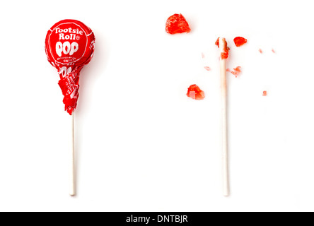 eaten tootsie roll pop - Stockfoto