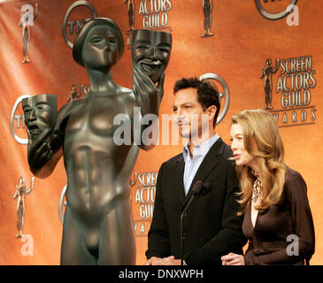 Jan 05, 2006; Los Angeles, CA, USA; Actress ELLEN POMPEO and actor BENJAMIN BRATT announce the nominees for the - Stock Photo