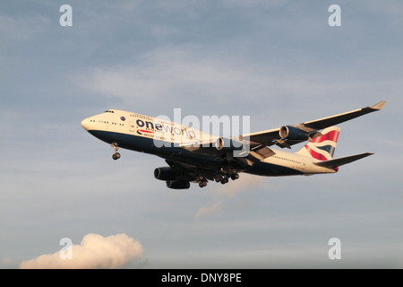 A British Airways Boeing 747-436 (G-CIVP) coming in to land at Heathrow Airport, London, UK. - Stock Photo