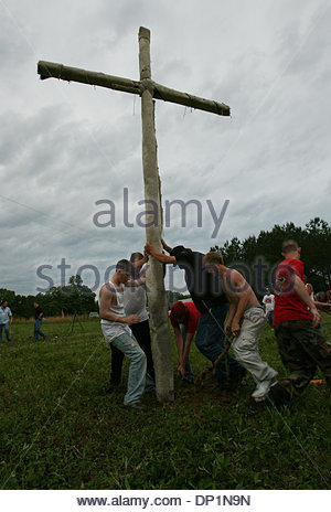 May 06, 2006; Red Bay, AL, USA; National Knights of the Ku Klux Klan, rally near Red Bay, Franklin County, Alabama. - Stock Photo