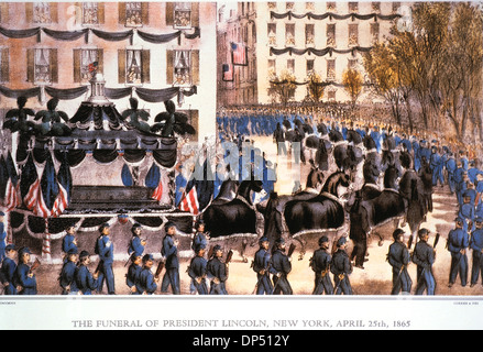 The Funeral of President Lincoln, New York, April 25th, 1865, Lithograph, Currier & Ives, 1865 - Stock Photo