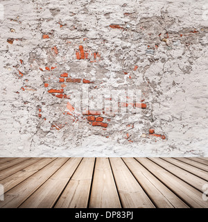 Empty abstract grunge interior with wooden floor - Stock Photo