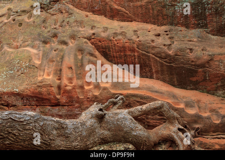 Footsteps and graffiti worn into soft sandstone canyon walls in Oklahoma's Redrock Canyon State Park - Stock Photo