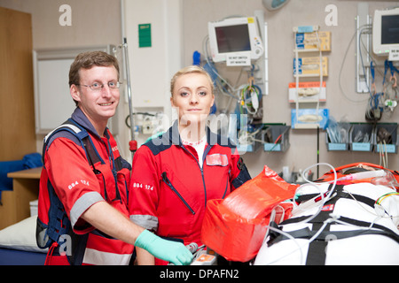 Portrait of paramedics in hospital - Stock Photo