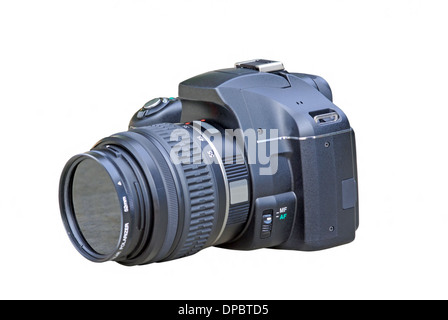 Black digital SLR camera on a white background - Stock Photo
