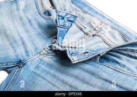 Blue Jeans Unzipped - Stock Photo