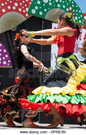 Flamenco dancers at Feria de Abril Flamenco weekend in Las Palmas, Gran Canaria, Canary islands, Spain - Stock Photo
