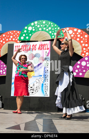 Flamenco dance lessson at Feria de Abril Flamenco weekend in Las Palmas, Gran Canaria, Canary islands, Spain - Stock Photo
