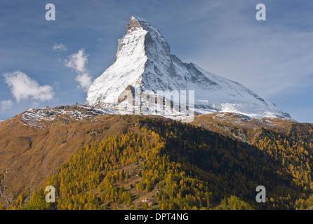 Matterhorn or Monte Cervino, Alps, border of Switzerland and Italy, 4,478 meters, 14,690ft in autumn, above Zermatt - Stock Photo