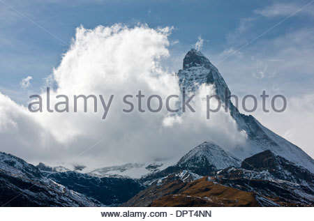 Matterhorn or Monte Cervino, with clouds coming up from the south; Switzerland. - Stock Photo