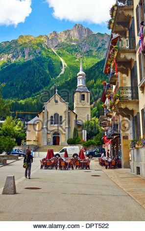 hotel le chamonix in Rue de l'Hôtel de Ville france Place Balmat 74400 Chamonix Mont Blanc - Stock Photo