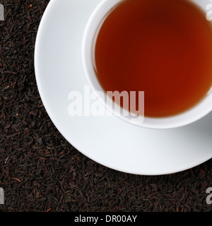 Black Tea in a cup from above - Stock Photo