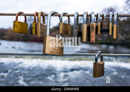 Love Locks, Wye Bridge, Bakewell, Derbyshire - Stock Photo