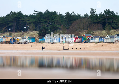 Wells next the sea beach and beach huts, North Norfolk, England, UK - Stock Photo