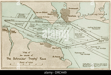 Map - Schneider Trophy Air Race 1931 - Stock Photo