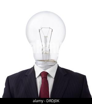 concept of a good idea businessman with a light bulb for a head isolated - Stock Photo