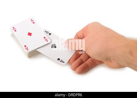 drawing two aces from a pack of cards isolated on a white background - Stock Photo