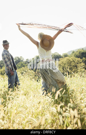 Maryland USA beautiful girl dancing and waving scarves in air - Stock Photo