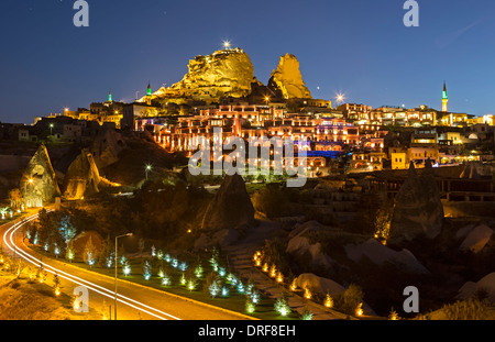 Uchisar Castle and Village, Cappadocia, Turkey - Stock Photo