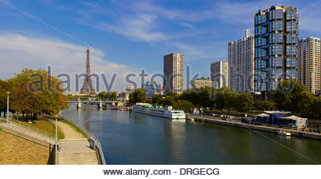 view from pont grenelle bridge over seine river to the skyscrapers - Stock Photo