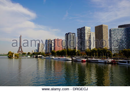 view from pont mirabeau bridge over seine river to the skyscrapers - Stock Photo