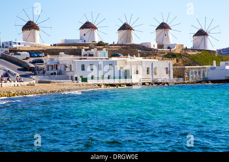 Windmills in Mykonos Cyclades Greece - Stock Photo