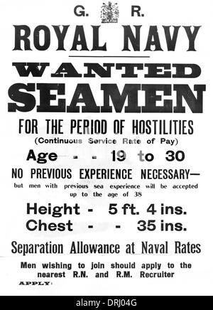 British Royal Navy recruitment poster, WW1 - Stock Photo
