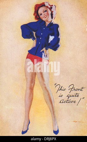 WWII - Pin-up showing a lot of leg - Stockfoto