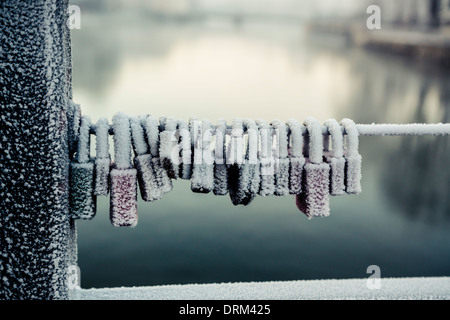 Germany, Bavaria, Landshut, frozen love locks - Stock Photo
