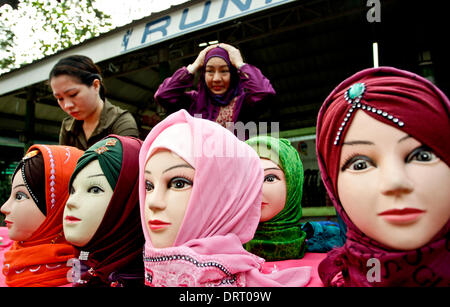 Quezon, Philippines. 1st Feb, 2014. Muslim women display different designs of Hijabs on mannequins during the World - Stock Photo