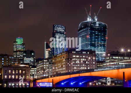 City of London at Dusk, London Bridge, England, UK - Stock Photo