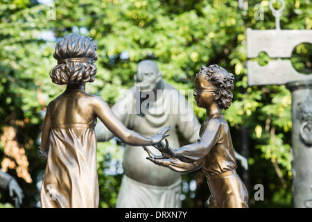 Children Are the Victims of Adult Vices, a series of sculptures by Mihail Chemiakin in Bolotnaya Square, Balchug, - Stock Photo