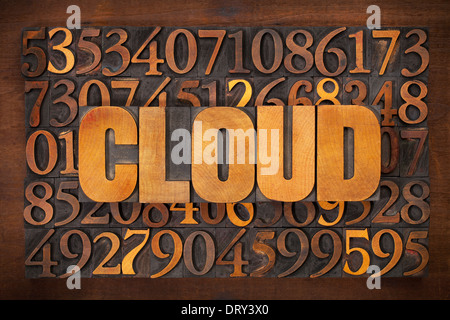 cloud computing concept - word in vintage letterpress wood type against number background - Stock Photo
