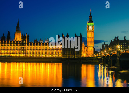 Houses of parliament at night, London - Stock Photo