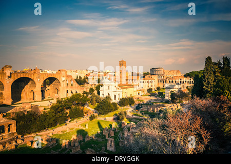Forum and Coliseum in Rome - Stock Photo