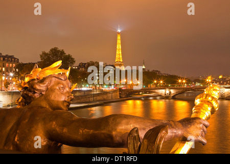 The view from Pont Alexandre III along the River Seine, Paris, France, Europe - Stock Photo