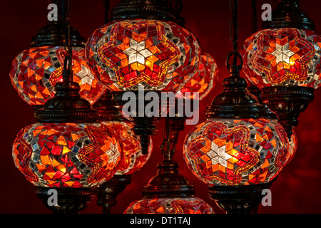 ... Close Up Of Decorative Turkish Lamps At The Grand Bazaar In Istanbul,  Turkey.
